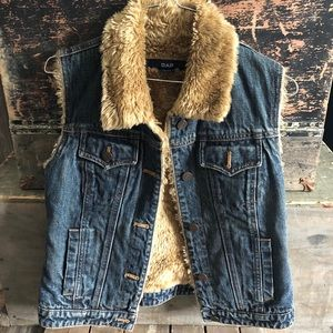 Vintage Gap Sherpa Lined Denim Vest